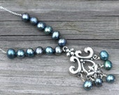Sale- Peacock Pearl Necklace, Hand Knotted Teal Freshwater Pearls Sterling Silver, Fleur De Lis Necklace