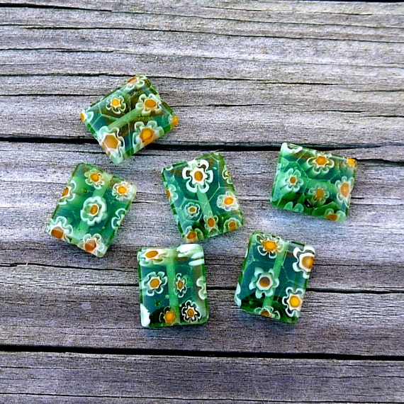Green Glass Beads, Millefiore Style Beads, Rectangular Beads with Orange Flowers- set of 6