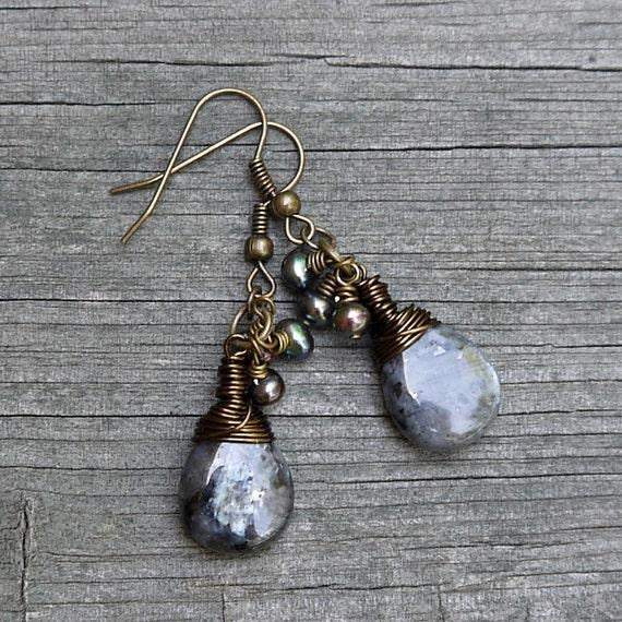 Labradorite Earrings, Black Iridescent Gemstone Earrings, Antique Brass Wire Wrapped Dangle Earrings