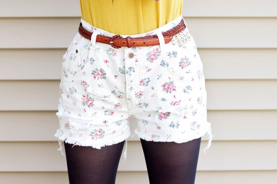 SALE // Flower Power - high waisted distressed studded reconstructed white floral denim shorts