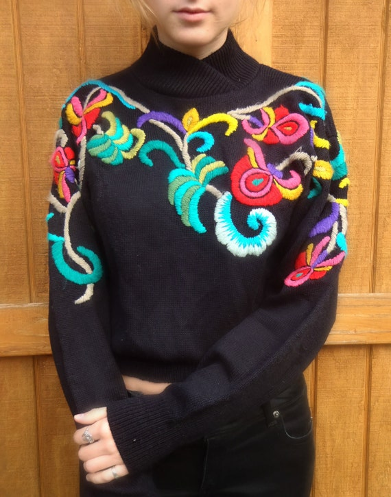Gorgeous Vintage Hand Embroidered Sweater