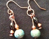 Copper earrings made with onyx and porcelain beads