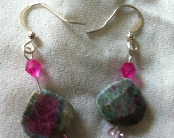 Ruby fuschite earrings with ruby swarvoski crystals, coupon available in december for 15% off