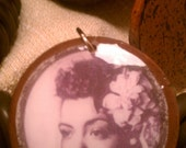 "Billie Holiday image 11/2"" circle earrings."
