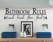 Bathroom Wall Decor Bathroom Rules Wash Brush Floss Flush Bath Room Wall Decor Removable Vinyl Lettering Quote Kids Bath Childs