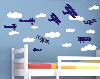 Airplane Wall Decals Plane Wall Decals Planes And Clouds D - Nursery wall decals clouds