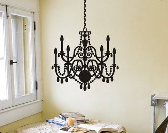 Chandelier Wall Sticker Chandelier Wall Decal Removable Vinyl Chandelier Wall Decoration Silhouette Sticker Decor Fancy