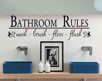 Bathroom Wall Decor Bathroom Rules Wash Brush Floss Flush Bath Room Wall  Decor Removable Vinyl Lettering