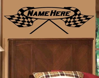 Checkered Flag Decal Personalized Crossed Racing Flags Wall Sticker Nursery Decorations Boys Bedroom Man Cave Race Theme Decor Bed Room