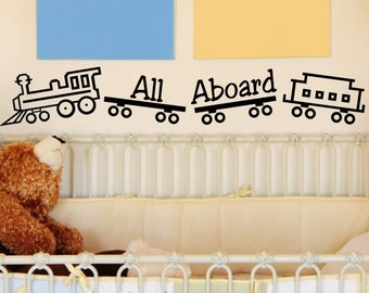 Baby Boy Nursery Wall Decal All Aboard Train Choo Choo Train Boys Bedroom Vinyl Lettering Wall Decor Wall Sticker Decorations Bed Room