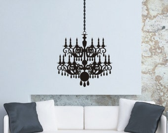 Chandelier Wall Sticker Chandelier Wall Decal Removable Vinyl Wall Decal Silhouette Graphic Wall Decor