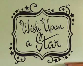 Kids Bedroom Wall Decal - Wish Upon A Star - with stars and frame