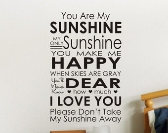 You Are My Sunshine Wall Decal Master Bedroom Wall Sticker Quote Kids Room Wall Decor Nursery Vinyl Lettering Removable Decoration