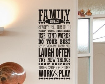 Family Rules Vinyl Lettering Wall Decal - Family Room / Living Room Wall Decor 50x22