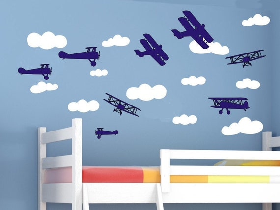 Baby Boy Nursery Wall Decals Airplanes and Clouds Set Boys Room Decals Boys Bedroom Decals Removable Vinyl Wall Decorations Air Planes
