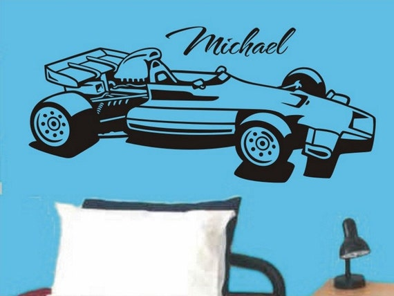 Boys Room Wall Decal Personalized Race Car Wall Decal Racecar Wall Decal Baby Boy Nursery Wall Decor Wall Sticker Vinyl Lettering Decoration