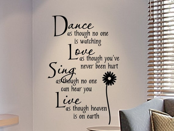 Girls Room Wall Decal Dance as Though No One is Watching with Flower Girls Bedroom Wall Decor Dance Decal Wall Sticker Vinyl Decorations