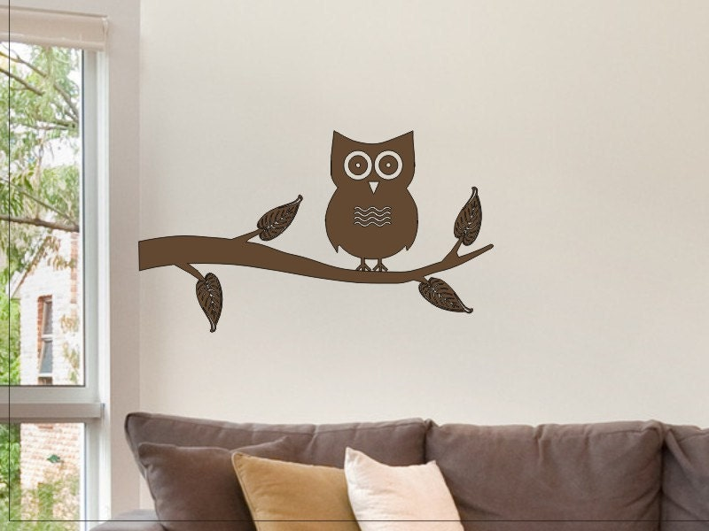 Owl Design Wall Stickers : Owl on a tree branch wall sticker decal nice decor for