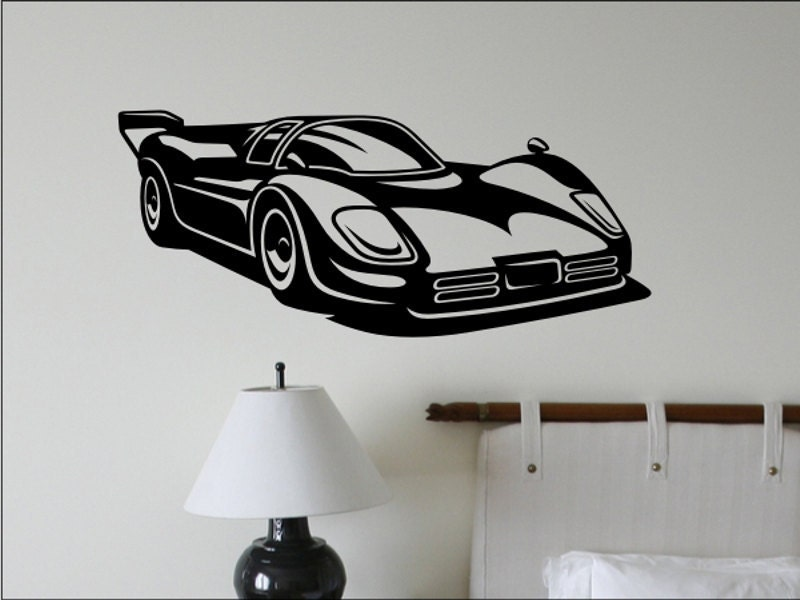 Race car wall decal boys bedroom wall decor man by for Cars wall mural sticker