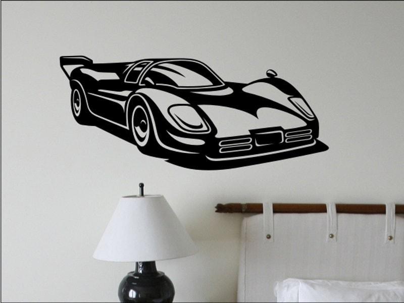race car wall decal boys bedroom wall decor man by vgwalldecals