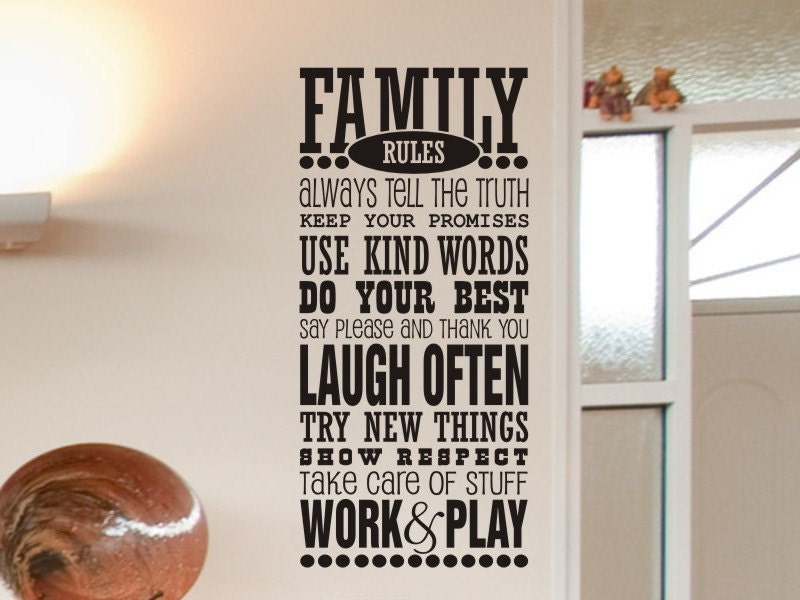 Family wall decal family rules wall decal living room wall for Living room decor quotes