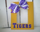 TIGERS Gold Photo Frame w/ Purple Bow