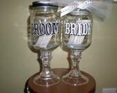 Bride & Groom Mason Jar Wine Glasses