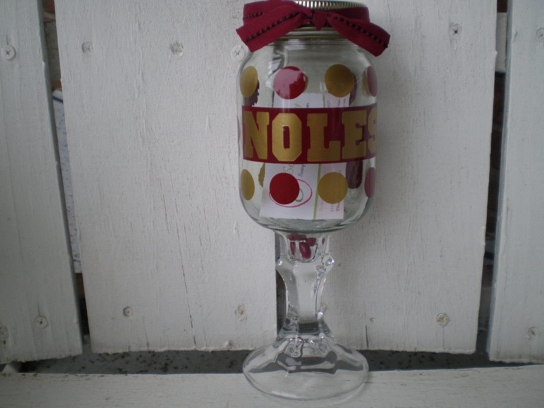 fsu noles mason jar wine glass. Black Bedroom Furniture Sets. Home Design Ideas