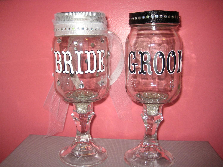 Bride groom mason jar wine glasses - Stemmed mason jars ...