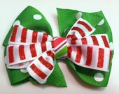 Green Polka Dots & Red Candy Cane Glitter Stripes HOLIDAY CHRISTMAS Ribbon Bow Handmade for PETS Dog Bow Collar Accessory