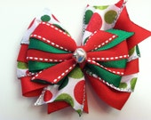 Red & White Green Polka Dot Sparkle Jingle Bell HOLIDAY CHRISTMAS Stacked Boutique Style Ribbon Bow Handmade for PETS Dog Collar Accessory