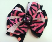 Hot Pink & Black Zebra Print with Glitter Buttons Retro 90s Stacked Boutique Style Ribbon Bow Handmade for PETS Dog Collar Accessory