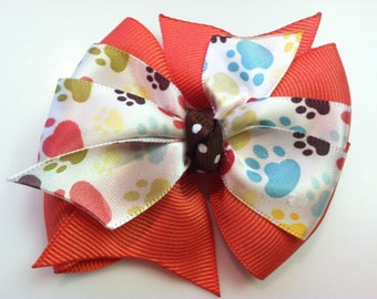Coral and Multi-Colored Paw Prints with Brown Polka Dots Stacked Boutique Style Ribbon Bow Handmade for PETS Dog Collar Accessory