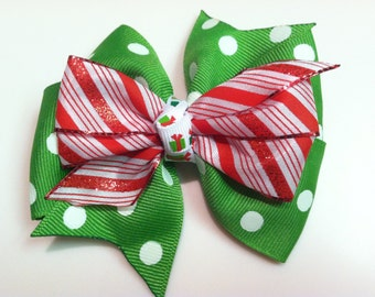 Green Polka Dots & Red Candy Cane Glitter Stripes HOLIDAY CHRISTMAS Stacked Ribbon Bow Handmade for PETS Dog Bow Collar Accessory