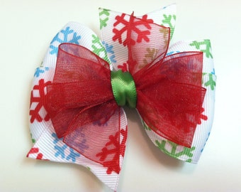Green, Red, Turquoise, White Snowflake HOLIDAY CHRISTMAS Stacked Boutique Style Ribbon Bow Handmade for PETS Dog Bow Collar Accessory