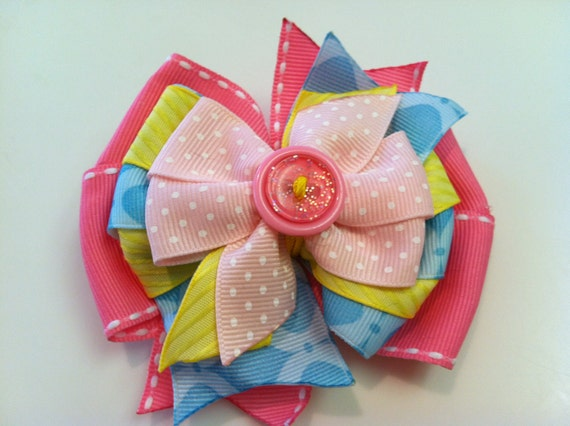 SPRING Yellow, Pink, Blue, Glitter, Polka Dot with Button EASTER Stacked Boutique Style Ribbon Bow Handmade for PETS Dog Collar Accessory