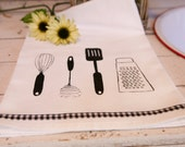 Tea Towel Flour Sack Cotton, Black 'Kitchen Utensils' Gingham Fabric Trim, Hand Screen Printed
