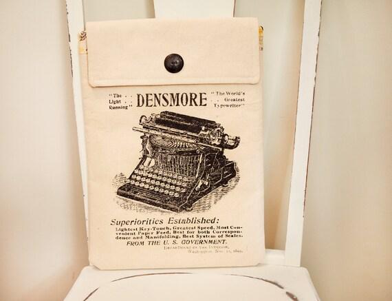 """13"""" Macbook Pro Laptop Case, Typewriter Screenprint, Yellow Flower Lining"""