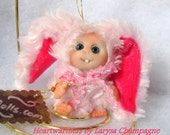Pink Sweet  Bunny  Cute Baby Doll, Decoration for home,Christmas by Larysa Champagne made to order