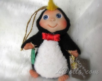 """Little Penguin  """" happy feet"""" Lucky Charm  with 4-Leaf Clover, Cute Baby doll, Christmas made to order"""