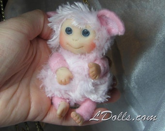 Pink Lamb Cute Baby Sheep Doll, Decoration for home, for Easter, Collectables