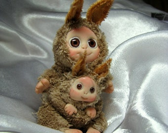 Brown Kangaroo Baby,  Lucky Charm  , Cute Baby Doll, Decoration for home, Collectables made to order
