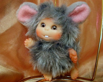 Grey Mouse  Baby,  Cute Baby Doll,  Decoration made to order.
