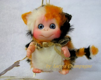 Cute  Kitten  Calico  Cute Baby Doll, Decoration for home, for Christmas, Collectables made to order