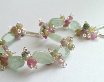 Watermelon and Mint Spritzer, Green Aventurine and Watermelon Tourmaline Bracelet