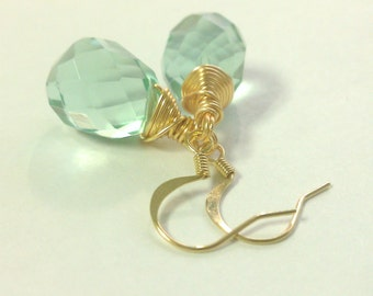 Rustic Apple Pie, Light-Green Quartz, Wire-Wrapped Earrings