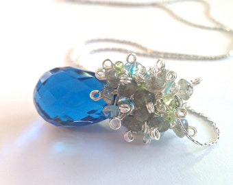 Hope Diamond, Who...London Blue Quartz, Peridot and Labradorite Cluster Necklace