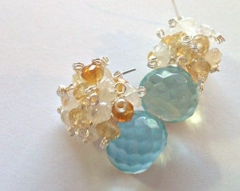 Sun-Sparkled Ocean, Citrine and Moonstone Cluster Earrings