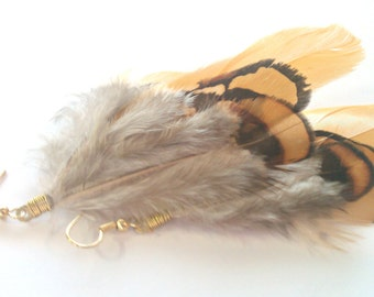 Laying the Golden Egg, Mustard Yellow Pheasant Feather Earrings