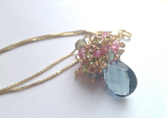 Dances With Peacocks, Teal Grey, Pink Quartz, Labradorite and Peridot Cluster Necklace